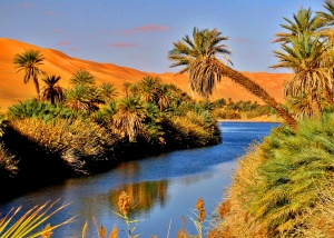 manara lake in libyan desert