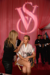 Toni Garrn - backstage Victoria's Secret fashion show in NYC 11/13/13