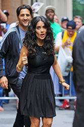 Salma Hayek leaving ABC Studios after taping Katie Couric's daytime show, NYC (July 10)