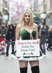 Ashley James - Fur Free PETA Christmas Campaign @ Carnaby Street in London - 12/14/15
