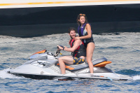Nina Dobrev and Asustin Stowell enjoy the ocean off the cost the French Riviera (July 26) X0XrXSkX