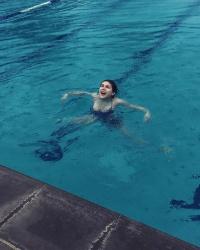 Alexandra Daddario in a Pool - 1/7/16 Instagram Pic