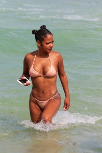 Christina Milian - Wearing An Even Smaller Bikini In Miami (8/20/17)