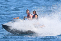 Nina Dobrev and Asustin Stowell enjoy the ocean off the cost the French Riviera (July 26) EVBRjOLk