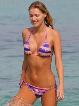 Deimante Guobyte sizzles into a Blue Bikini in Miami