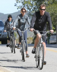 Cindy Crawford - bike riding with her family in Studio City 2/24/13