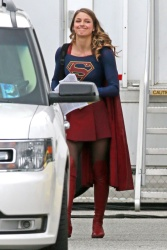 Melissa Benoist - On the set of 'Supergirl' 4/25/17