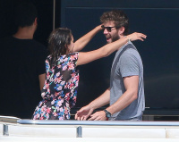Nina Dobrev and Asustin Stowell enjoy the ocean off the cost the French Riviera (July 26) JsNMaLUt