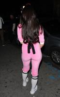 Mara Teigen - outside the Think Tank Art Gallery in a pink power ranger outfit 12/28/16