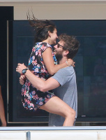 Nina Dobrev and Asustin Stowell enjoy the ocean off the cost the French Riviera (July 26) G4H9dX34