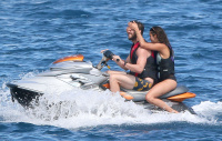 Nina Dobrev and Asustin Stowell enjoy the ocean off the cost the French Riviera (July 26) 951R5d7M