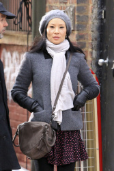 Lucy Liu - on the set of 'Elementary' in NYC 1/21/13