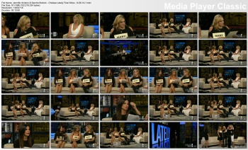Jennifer Aniston & Sandra Bullock - Chelsea Lately Final Show - 8-26-14  (double leggy)