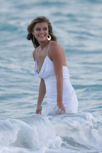 Nina Agdal – Shooting for Bebes Spring 2014 campaign in Miami – Nov. 12,