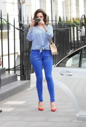Kelly Brook - leaves her home & arrives at Riverside Studios in London 4/17/13