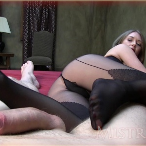 Stockings and pantyhose footjobs