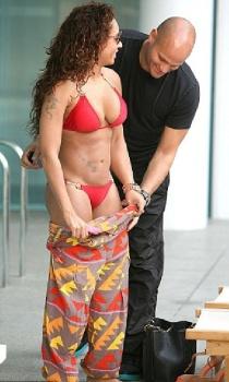 Melanie Brown red bikini Australia