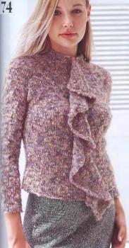 Dec 6, 2013 - Теплый свитер из меланжевой букле пряжи. .  Спицы. .  Тэги: вязание, спицами, для немодельных дам...
