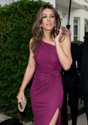 Elizabeth Hurley heading to  leaving White Tie and Tiara Ball in London June 27