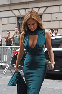 Jennifer Lopez - Low-cut Outfit For A Friend's Wedding In NYC With ARod (8/7/17)