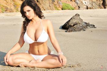 Дениз Милани, фото 4462. Denise Milani White Bikini (From Her Old Website), foto 4462