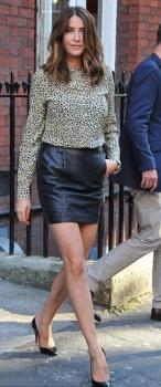 Lisa Snowdon black mini skirt London