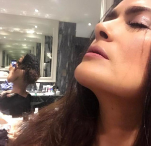 Salma Hayek - Topless (Kinda) Bathroom Selfie Instagram (7/15/17)